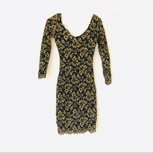 Vintage gold and black lace dress